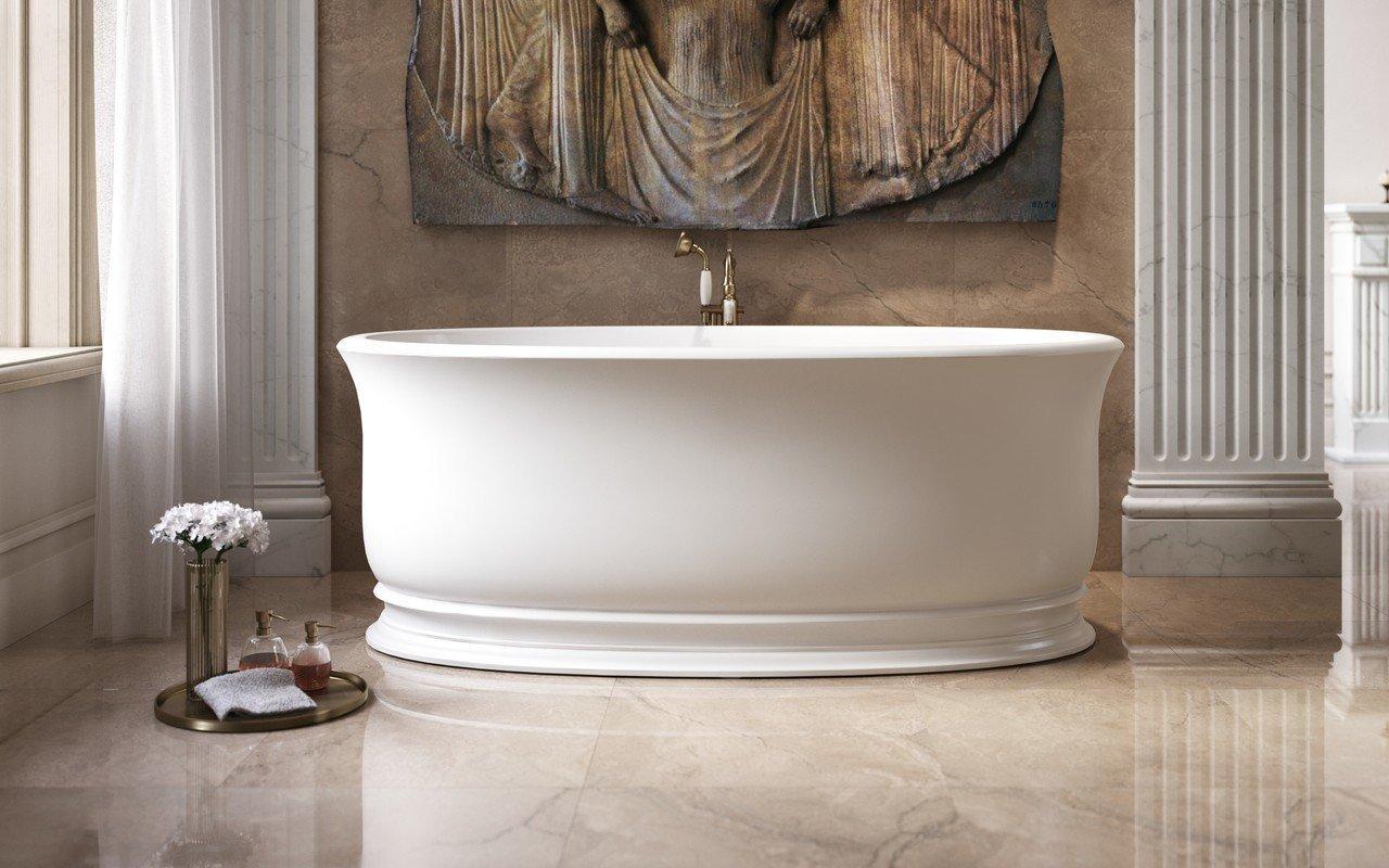 Aquatica Aphrodite-Wht brīvstāvoša Solid Surface vanna, balta picture № 0