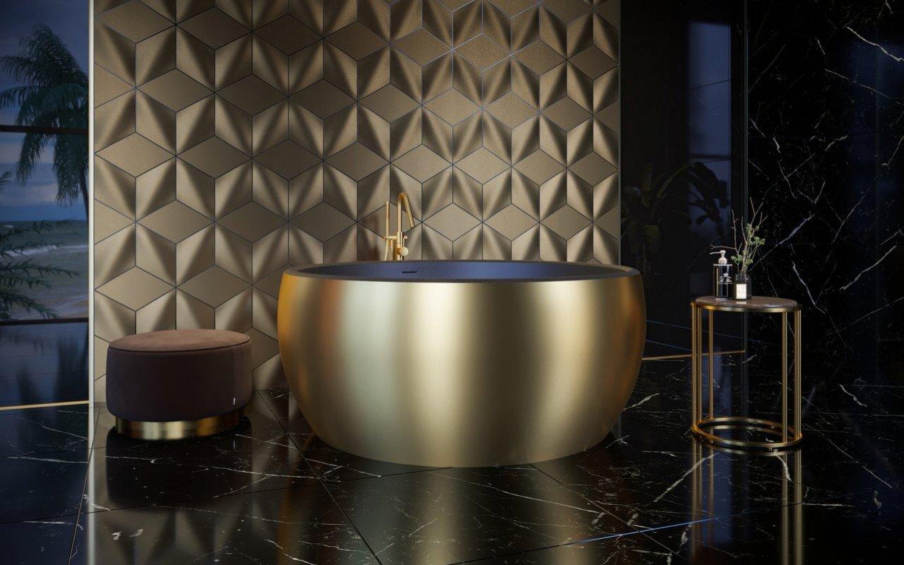 Aquatica Aura dzeltena zelta-melna apaļa, brīvstāvoša Solid Surface vanna picture № 0
