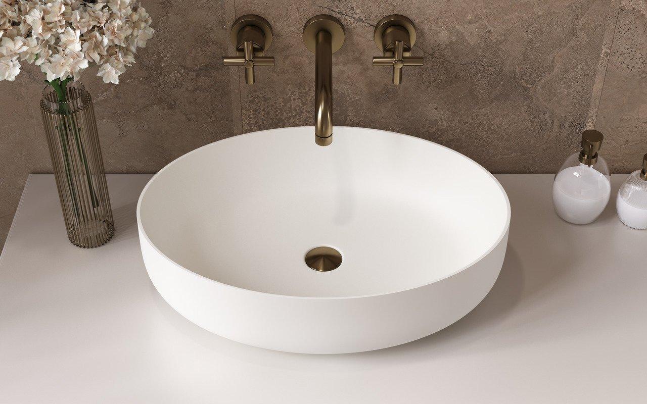Aquatica Aurora-Wht ovāla, akmens, uz virsmas uzstādāma vannasistabas izlietne, balta picture № 0