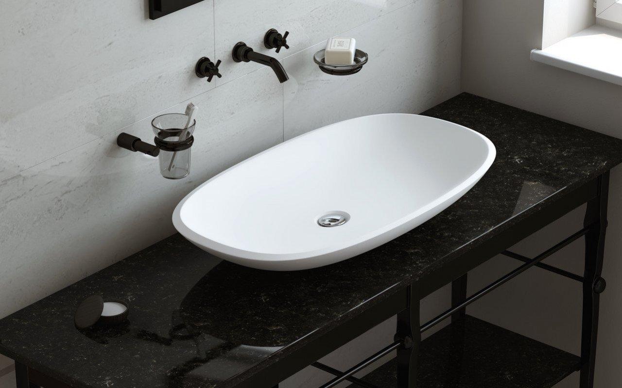 Aquatica Coletta-B-Wht akmens, uz virsmas uzstādāma vannasistabas izlietne, balta picture № 0