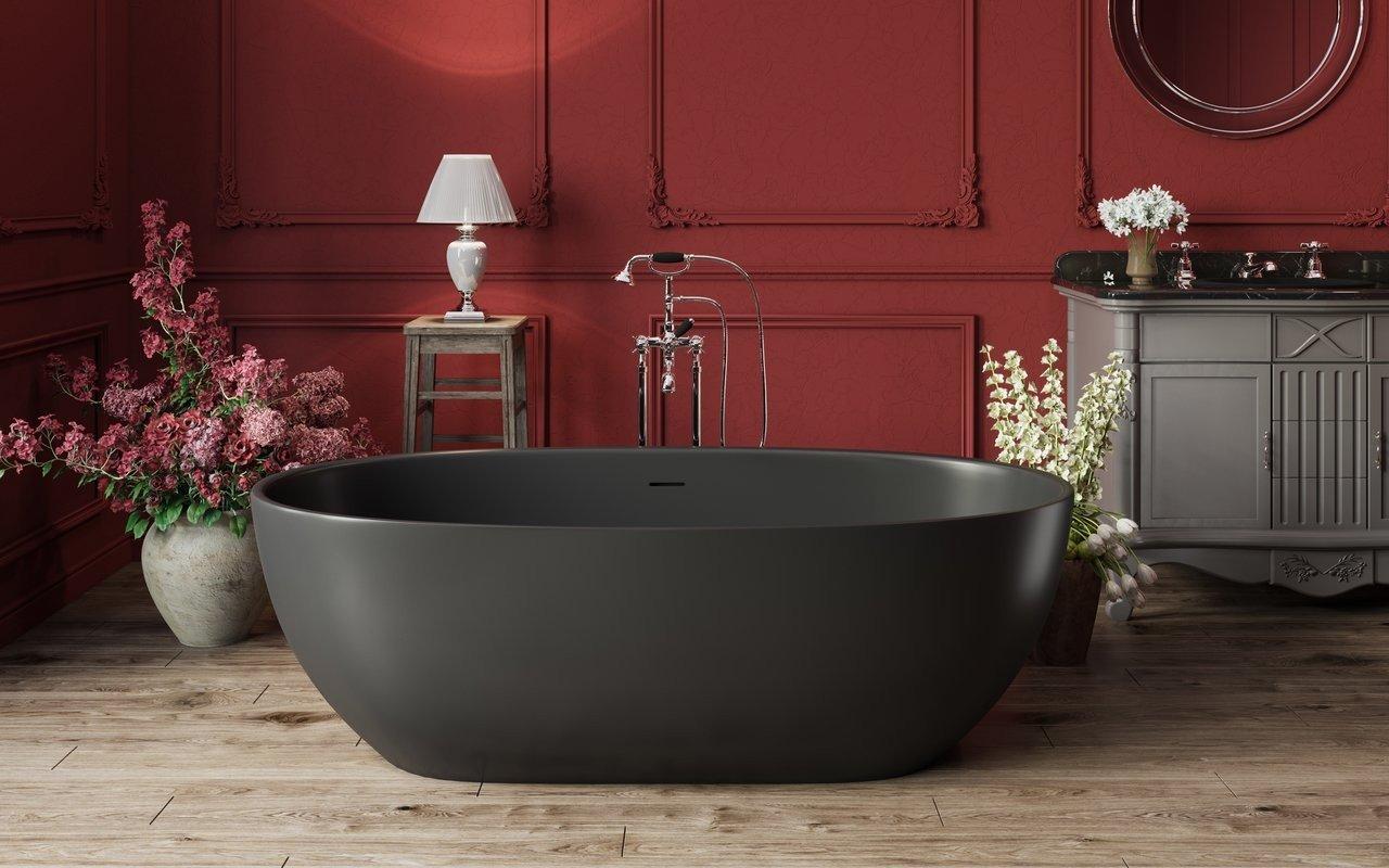 Aquatica Corelia™ melna brīvstāvoša Solid Surface vanna picture № 0