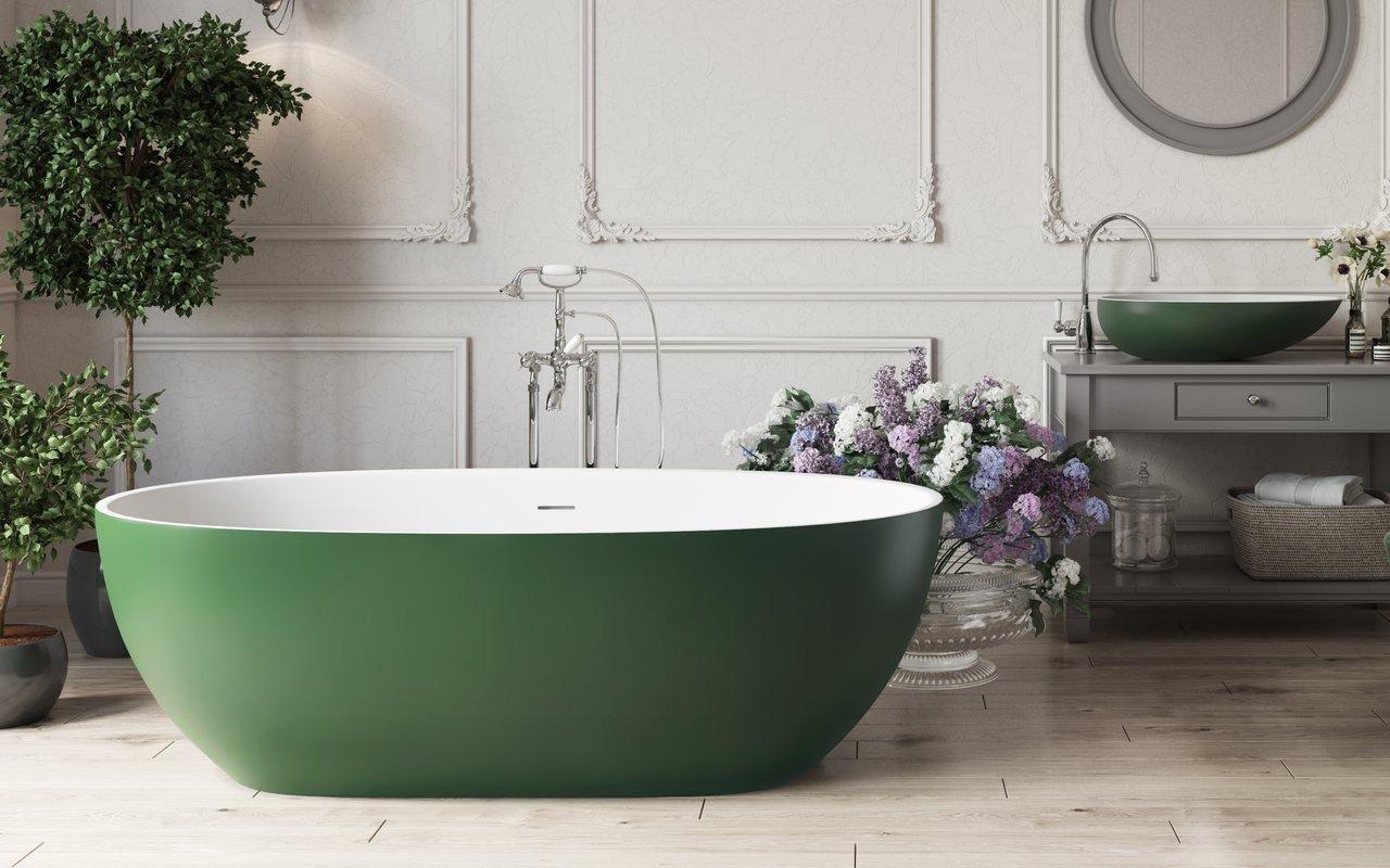 Aquatica Coletta™ Moss Green-Wht brīvstāvoša Solid Surface vanna, sūnu zaļa-balta picture № 0