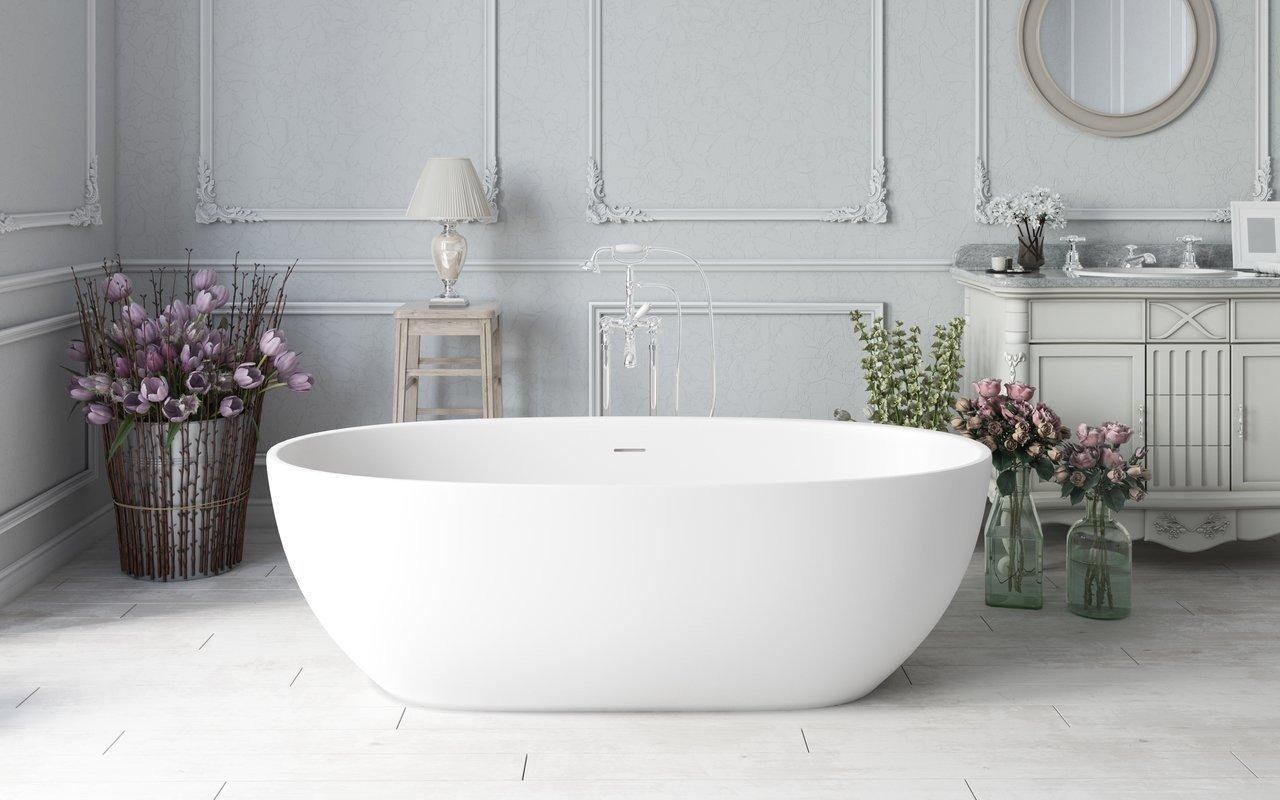 Aquatica Corelia-Wht™ brīvstāvoša Solid Surface vanna, balta picture № 0