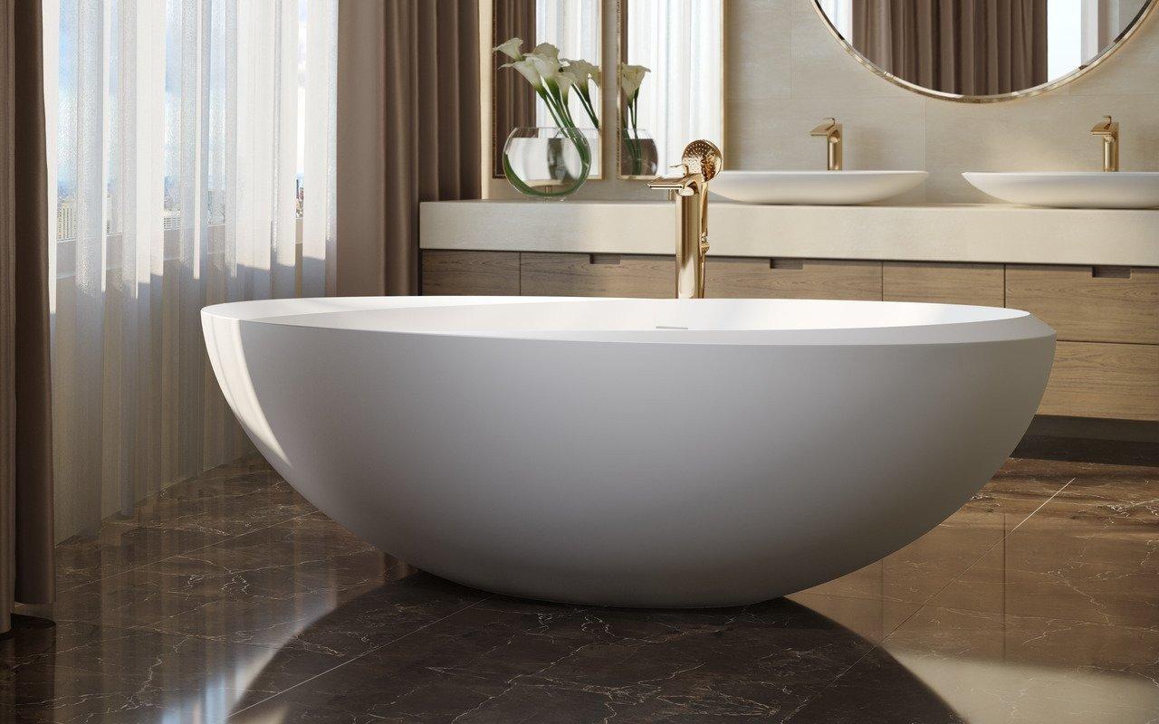 Aquatica Illusion-Wht brīvstāvošā Solid Surface vanna, balta picture № 0