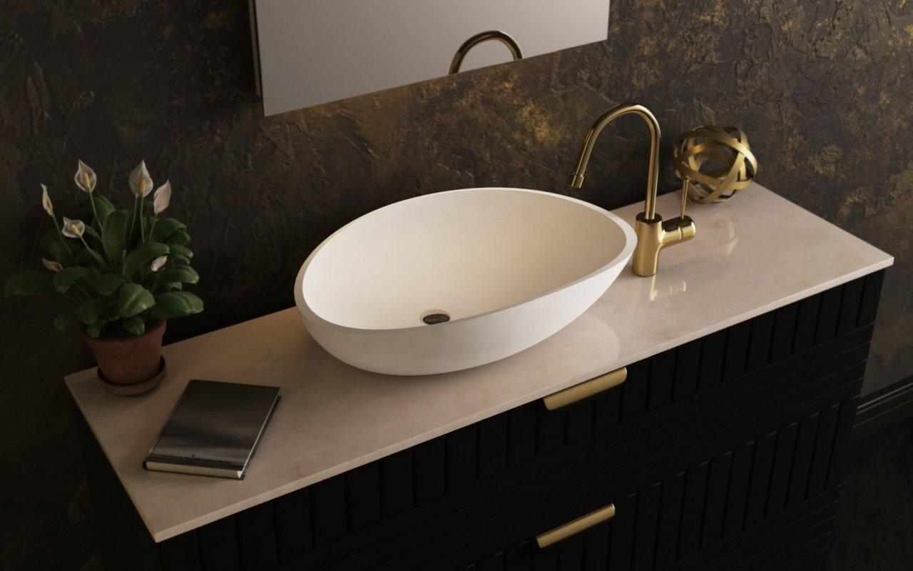Aquatica Lotus-Wht akmens, uz virsmas uzstādāma vannasistabas izlietne, balta picture № 0