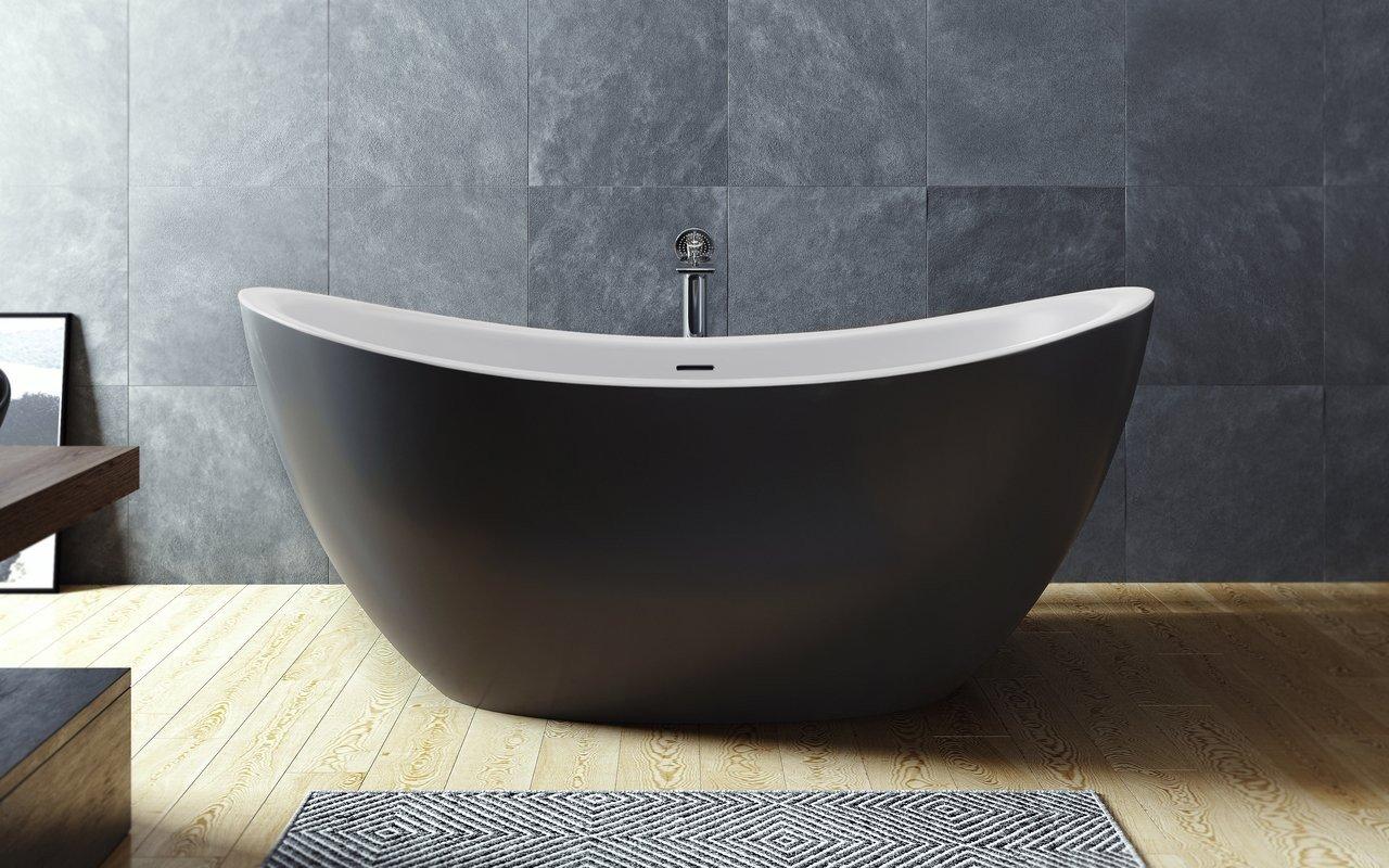 Aquatica Purescape 171M-Blck-Wht brīvstāvoša Solid Surface vanna, melnbalta picture № 0