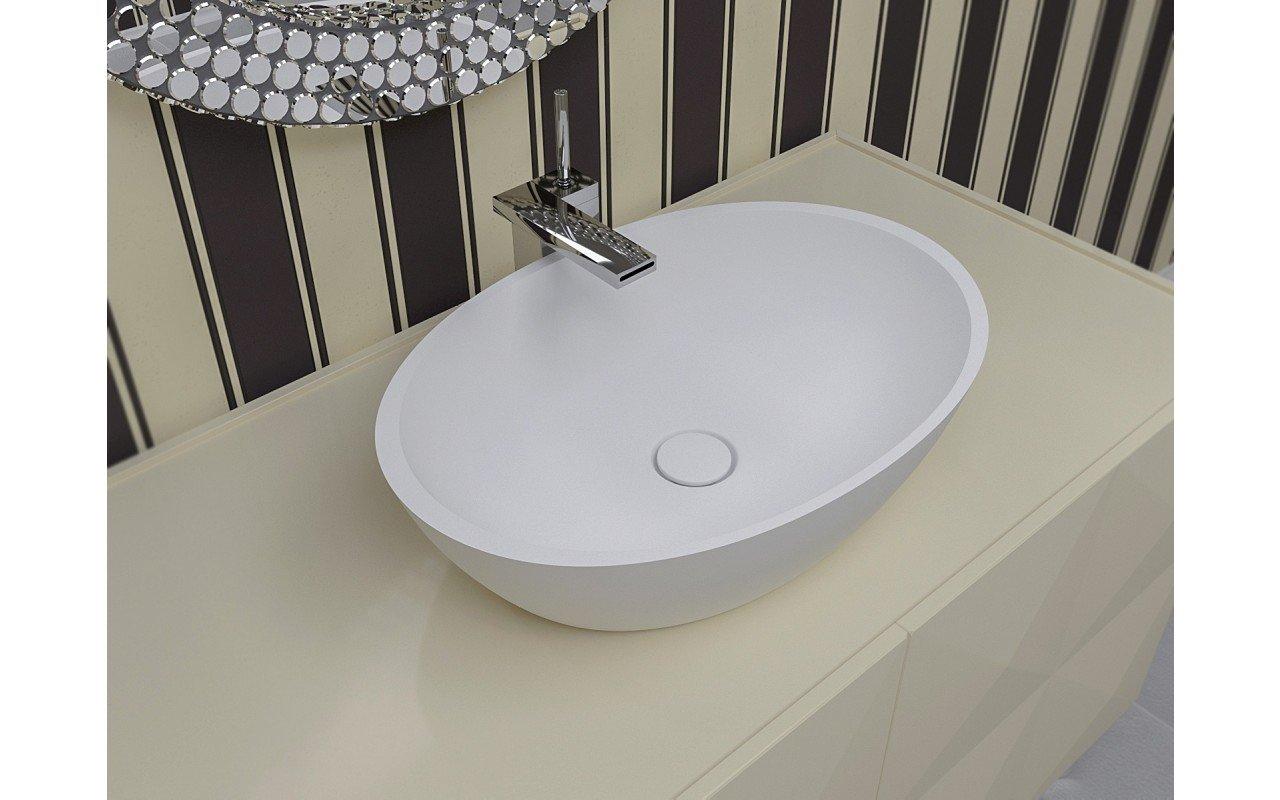 Aquatica Sensuality-Wht™ akmens, uz virsmas uzstādāma vannasistabas izlietne, balta picture № 0