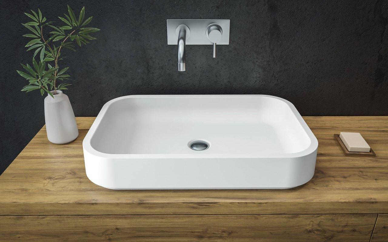 Aquatica Solace-A-Wht kantaina, akmens, uz virsmas uzstādāma vannasistabas izlietne, balta picture № 0
