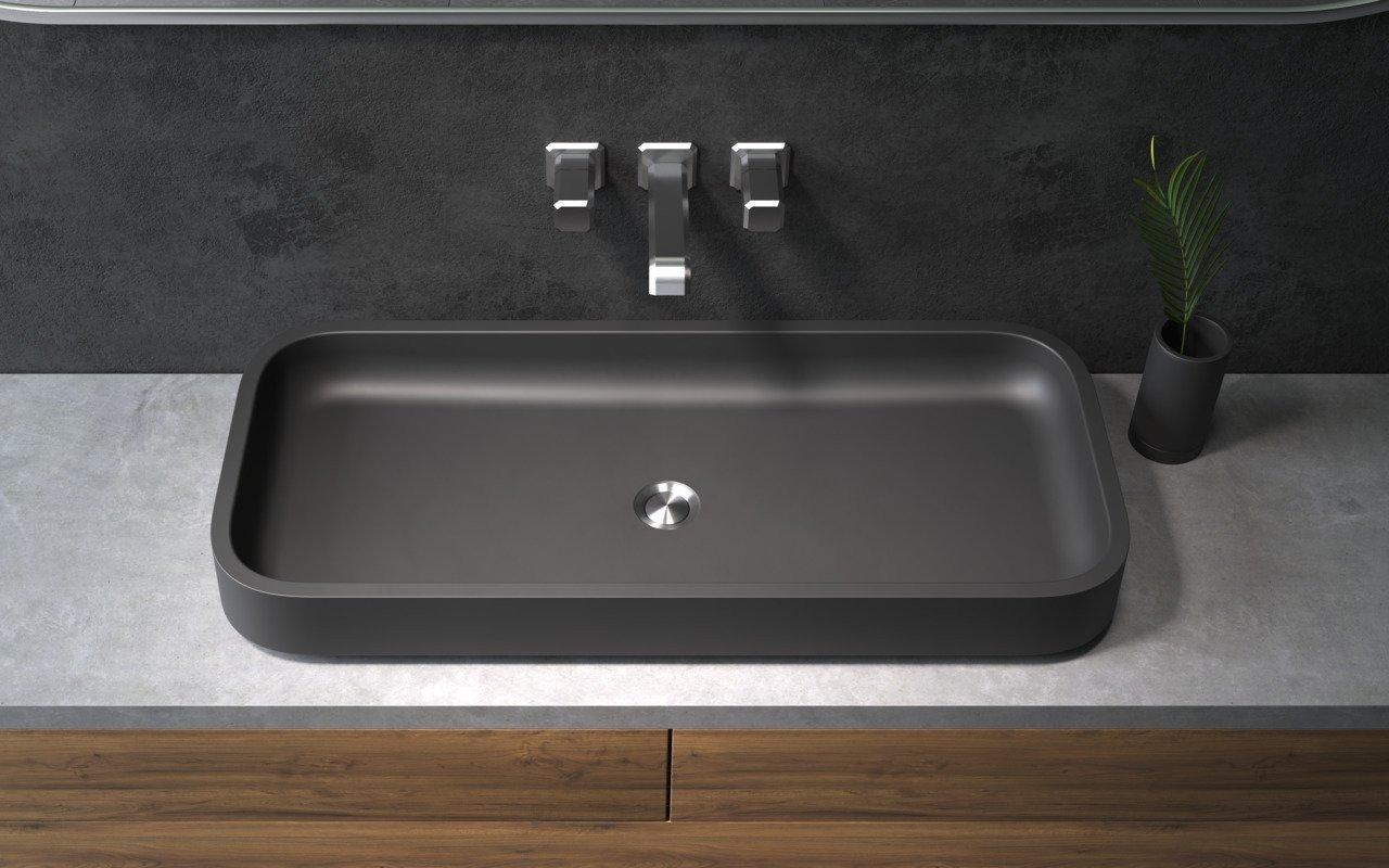 Aquatica Solace-B-Blck kantaina akmens uz virsmas uzstādāma vannasistabas izlietne, melna picture № 0