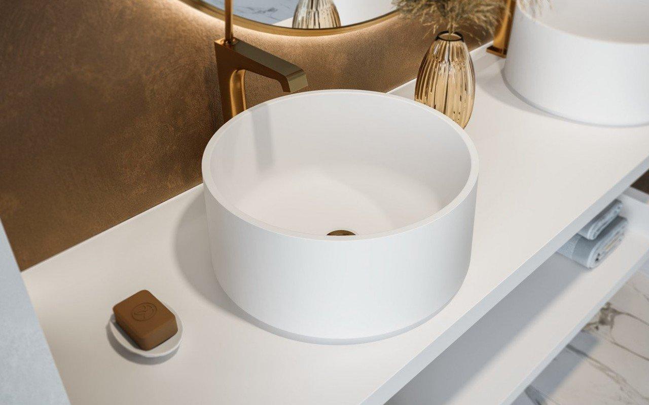 Aquatica Solace-B-Wht apaļa, akmens, uz virsmas uzstādāma vannasistabas izlietne, balta picture № 0