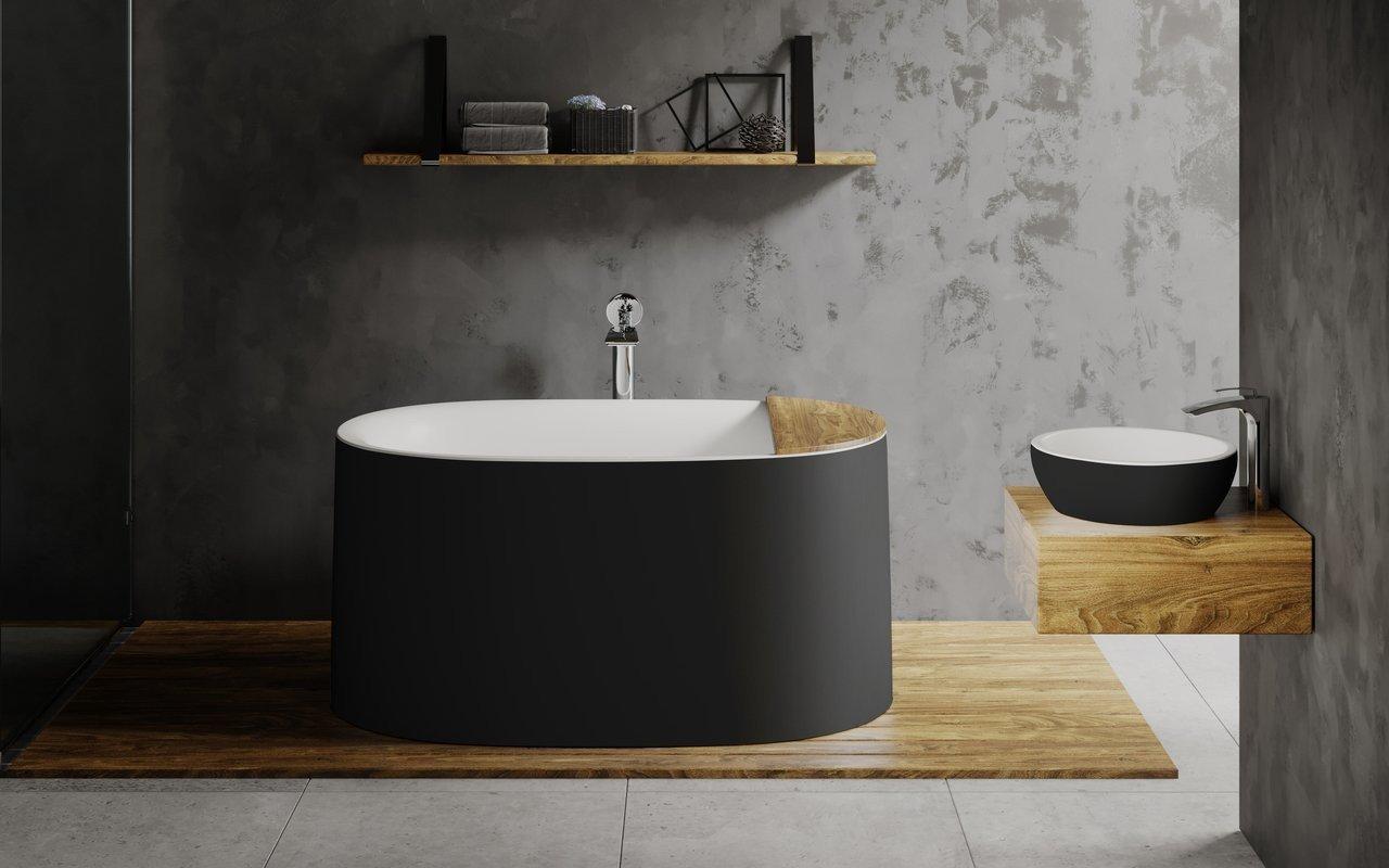Aquatica Sophia-Black-Wht brīvstāvoša Solid Surface vanna– matēta, melnbalta picture № 0