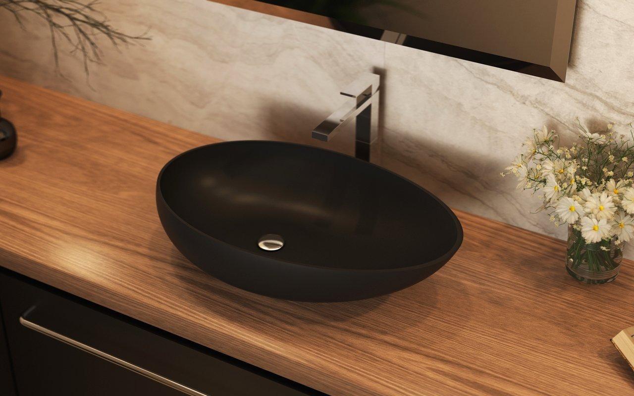 Aquatica Spoon-2-Blck akmens uz virsmas uzstādāma vannasistabas izlietne, melna picture № 0