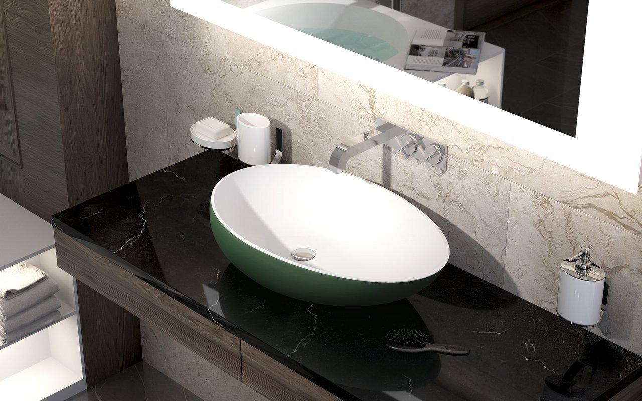 Aquatica Spoon-2 Moss Green-Wht akmens, uz virsmas uzstādāma vannasistabas izlietne, sūnu zaļa-balta picture № 0