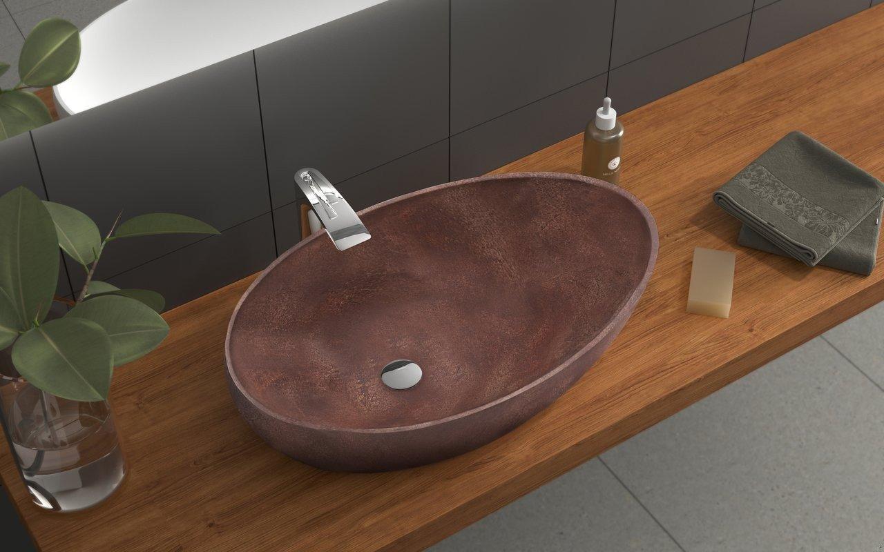 Aquatica Spoon-2-Brnz akmens, uz virsmas uzstādāma vannasistabas izlietne, bronza picture № 0