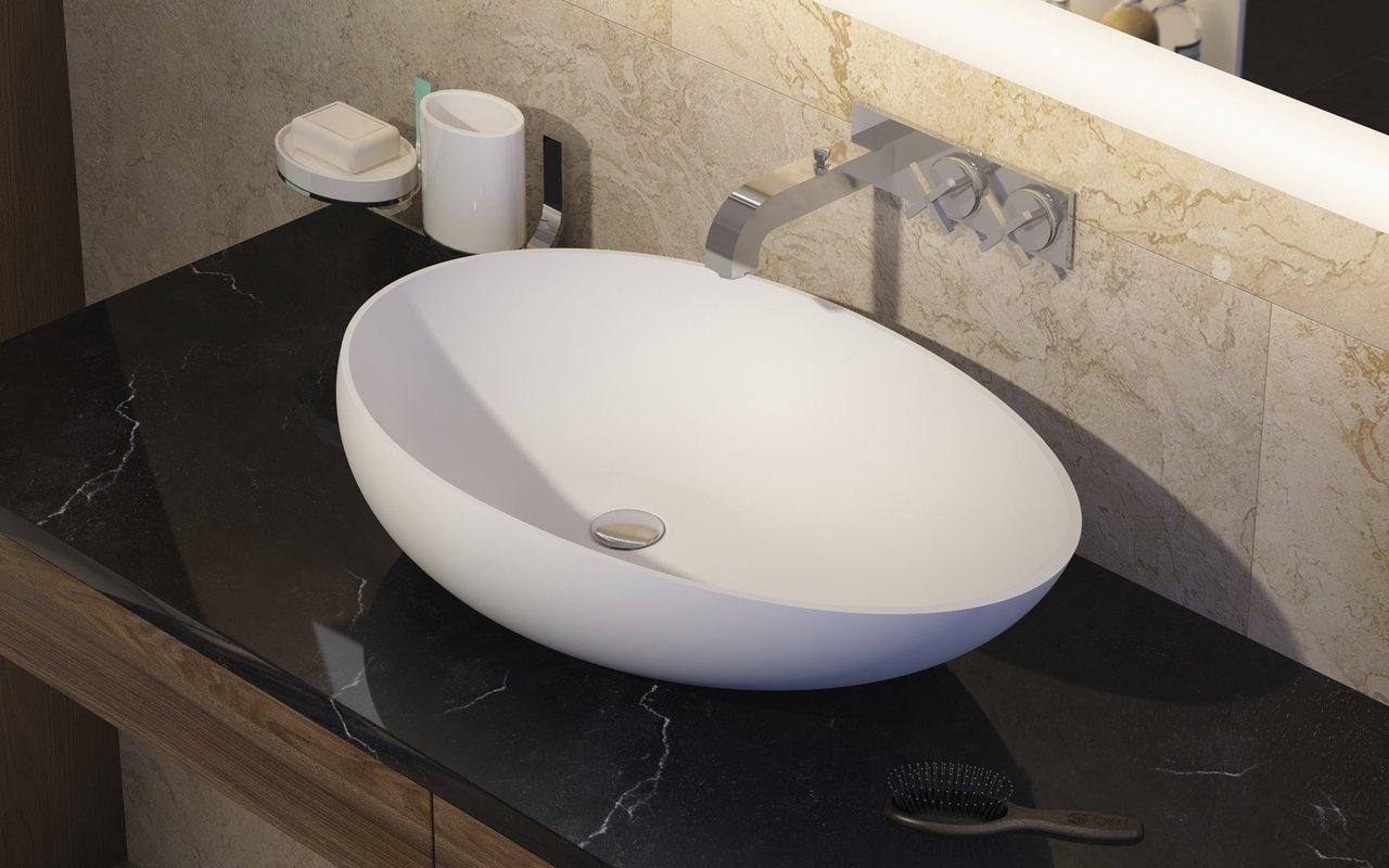Aquatica Spoon-2-Wht akmens, uz virsmas uzstādāma vannasistabas izlietne, balta picture № 0