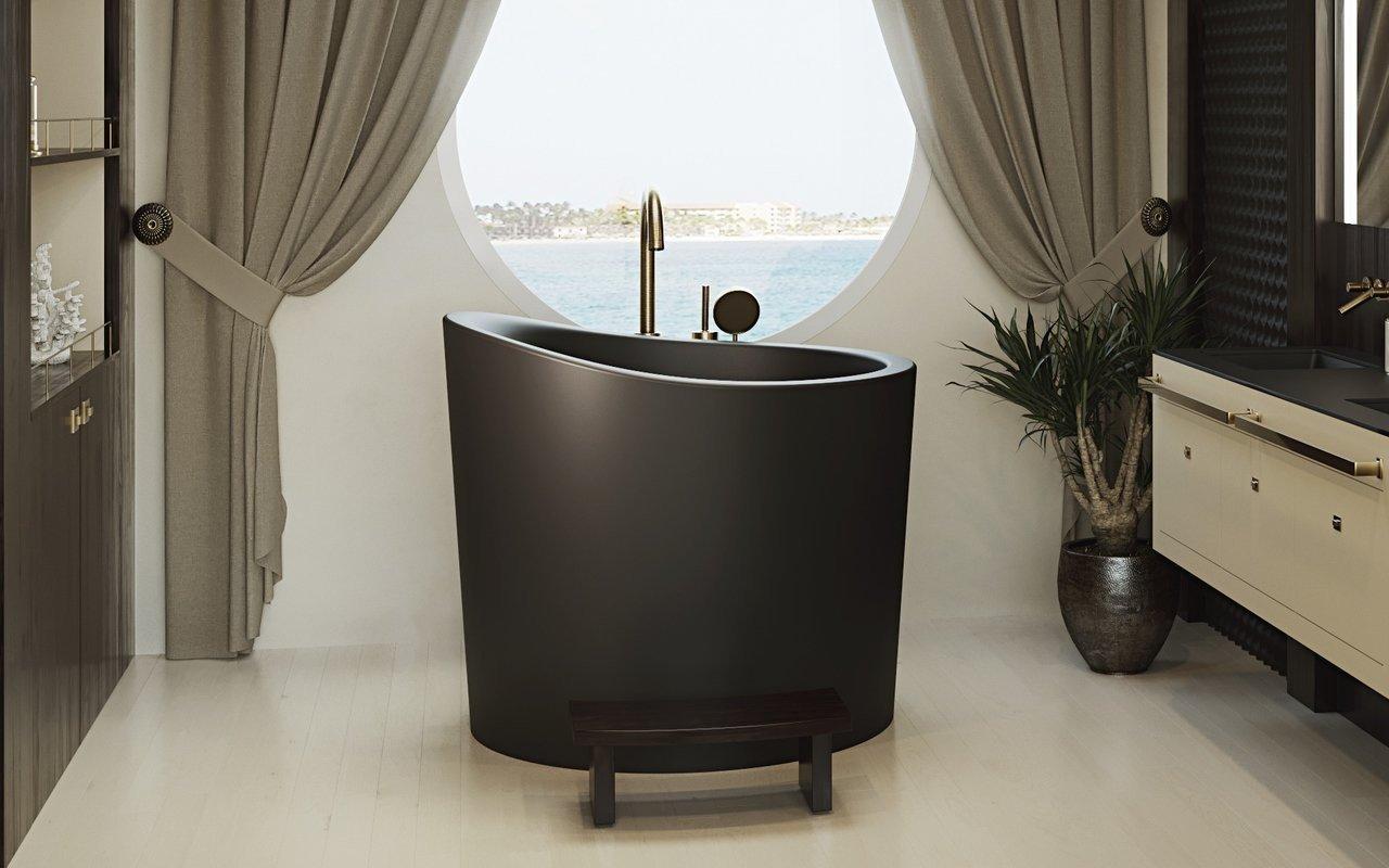 Aquatica True Ofuro Mini melna brīvstāvoša, japāņu dziļā akmens vanna picture № 0