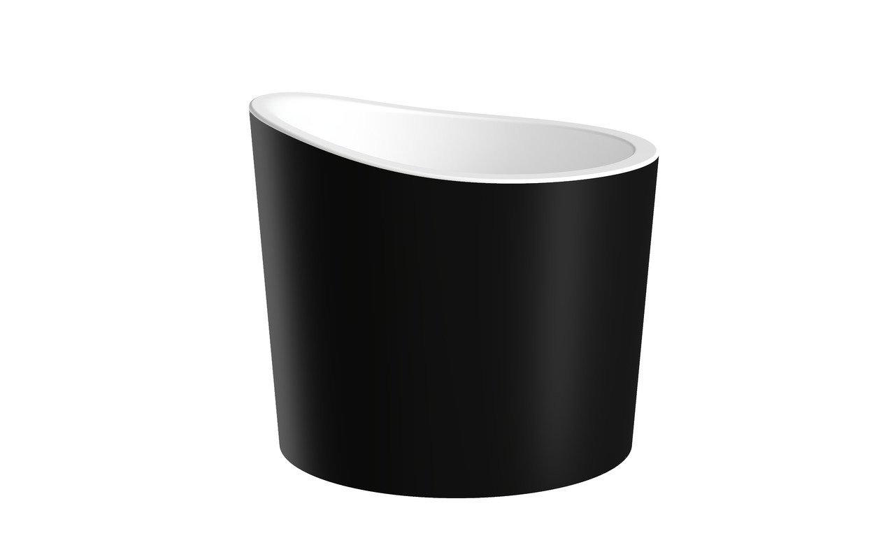 Aquatica True Ofuro Mini-Blck-Wht brīvstāvoša, akmens japāņu dziļā vanna, melnbalta picture № 0