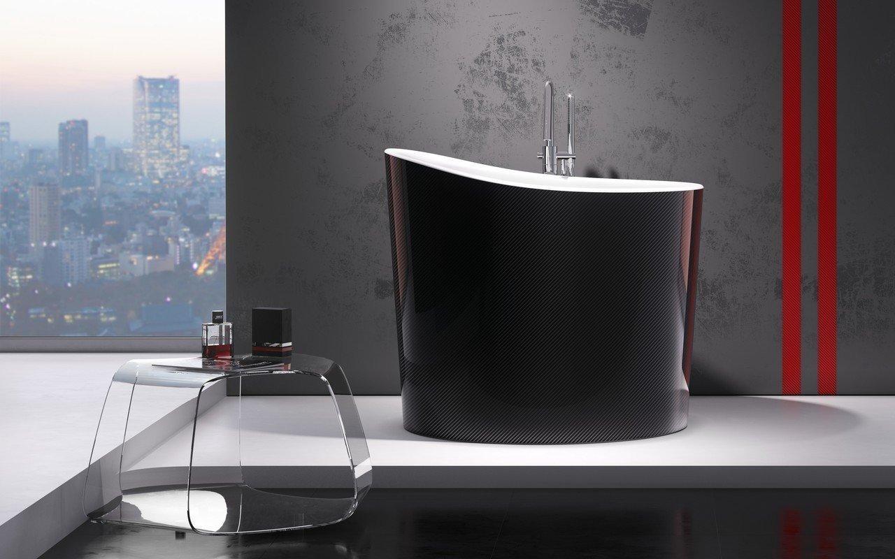 Aquatica True Ofuro Mini Carbon-Wht brīvstāvoša, akmens japāņu dziļā vanna, karbona-balta picture № 0
