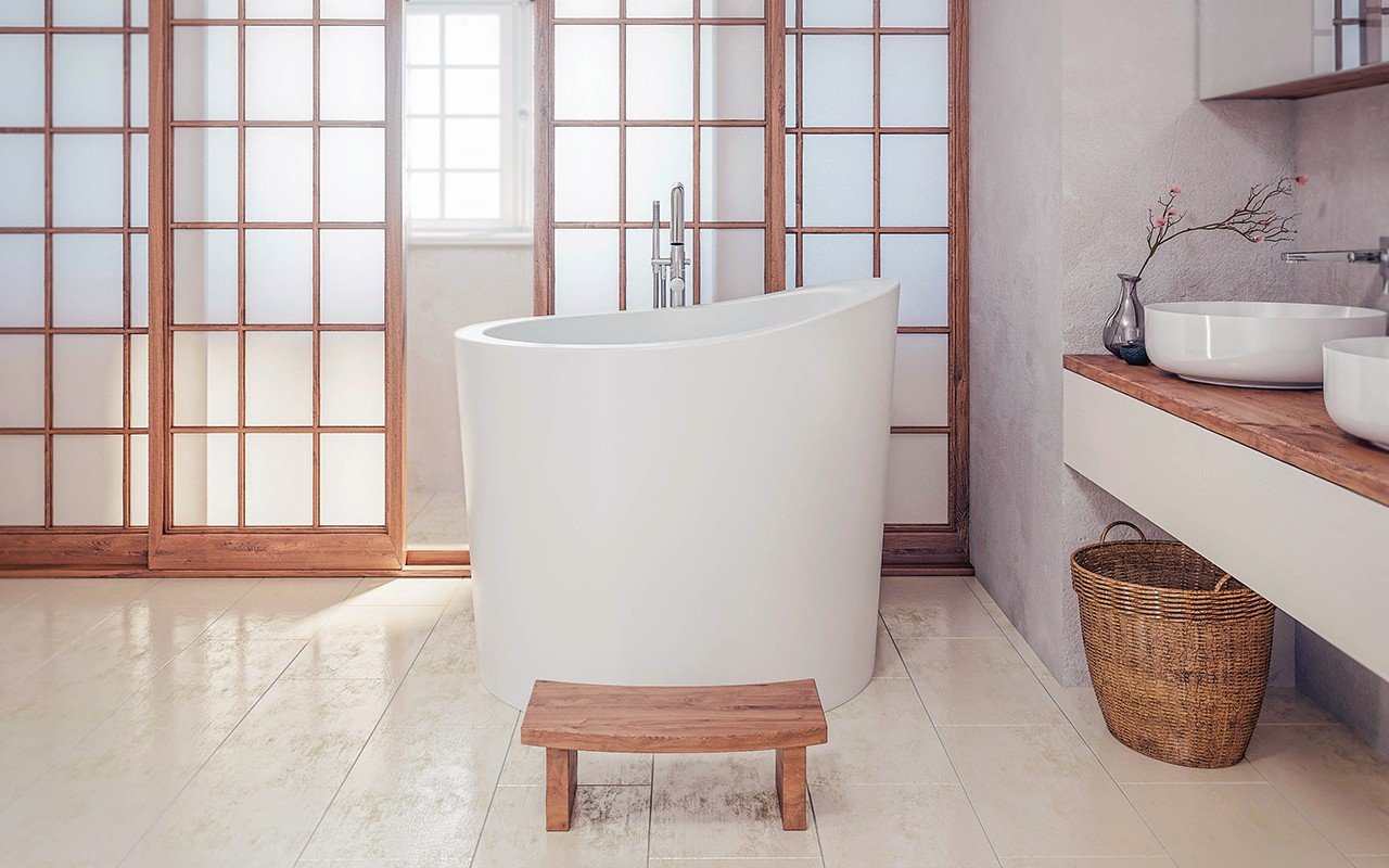 Aquatica True Ofuro Mini brīvstāvoša, japāņu dziļā akmens vanna picture № 0