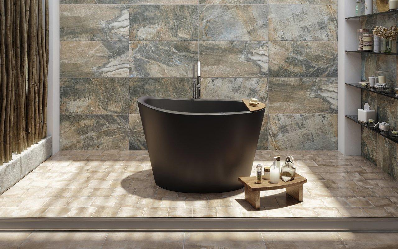 Aquatica True Ofuro Tranquility apsildāma melna brīvstāvoša, japāņu dziļā akmens vanna picture № 0