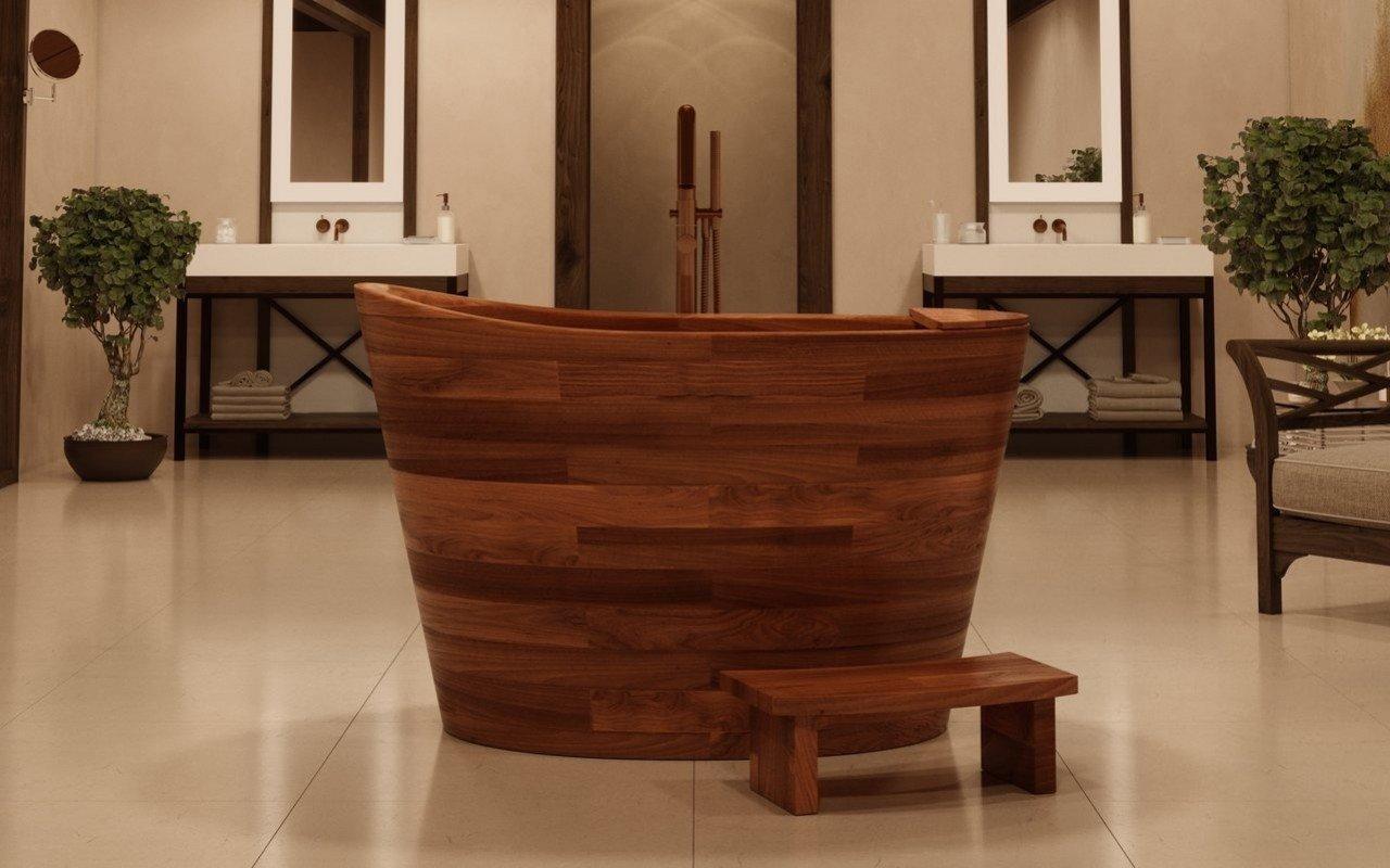 Aquatica True Ofuro brīvstāvoša, japāņu dziļā koka vanna picture № 0