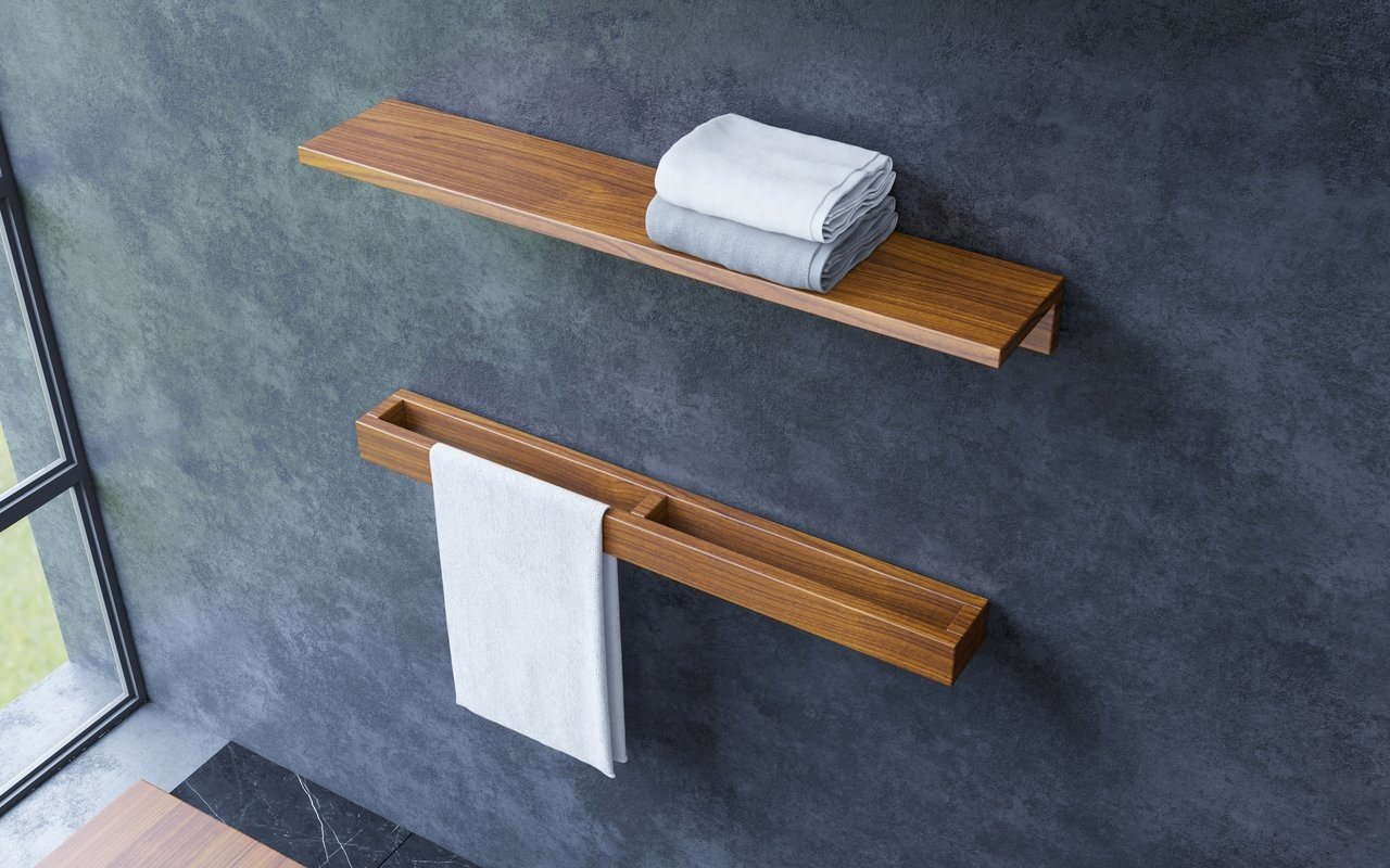 Aquatica Universal 32 Waterproof Wall Mounted Iroko Wood Shelf 01 (web)