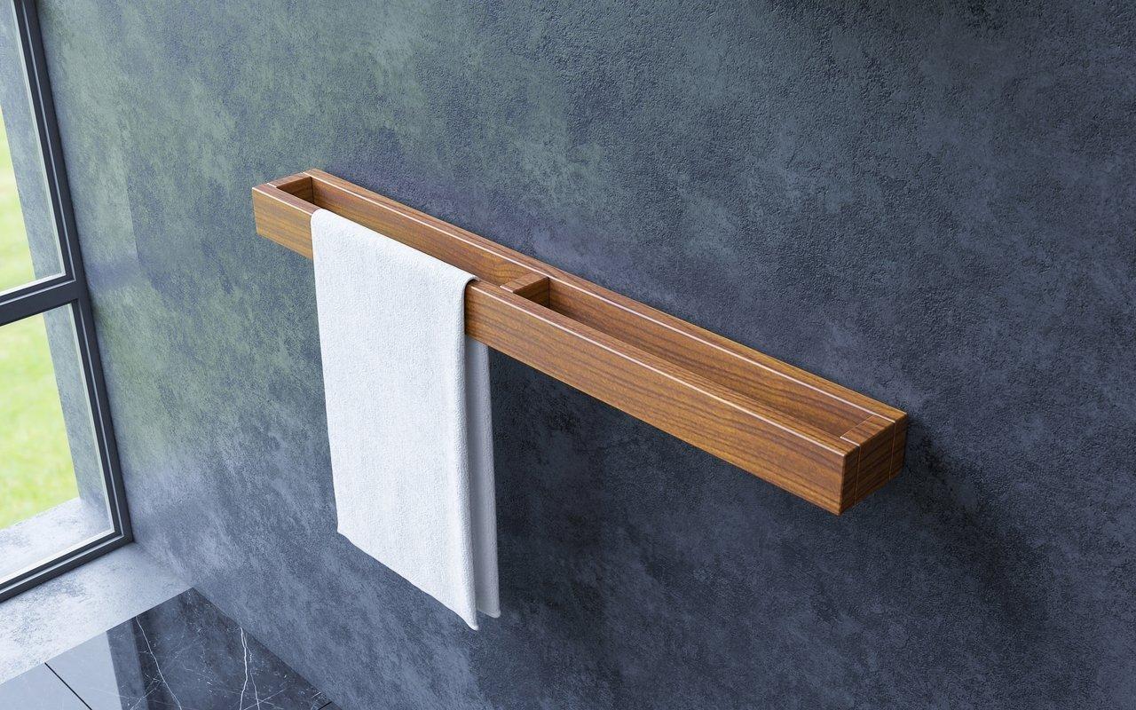 """Aquatica Universal 32"""" ūdensizturīgs pie sienas stiprināms iroko koka dvieļu turētājs picture № 0"""