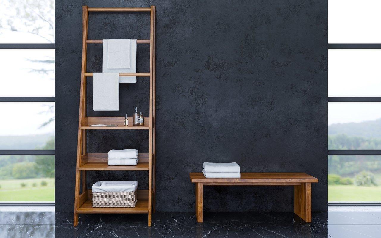 Aquatica Universal 70.75 Waterproof Iroko Wood Bathroom Ladder Shelf 02 (web)