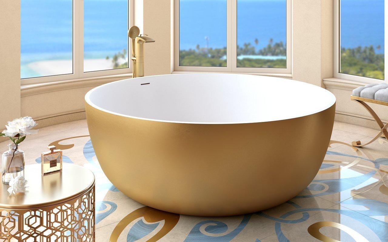 Aquatica Adelina Yellow Gold-Wht apaļa, brīvstāvoša Solid Surface vanna, dzeltena zelta-balta picture № 0