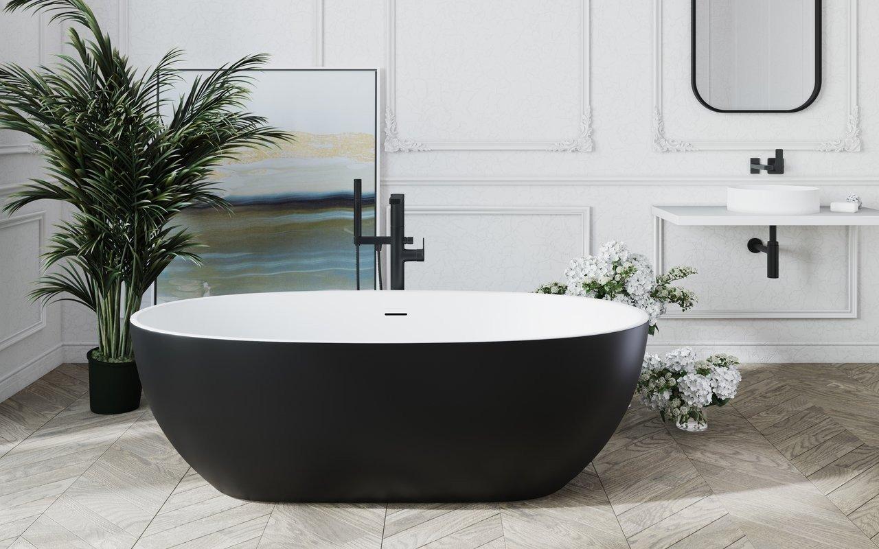 Aquatica Corelia-Blck-Wht™ brīvstāvoša Solid Surface vanna, melnbalta picture № 0