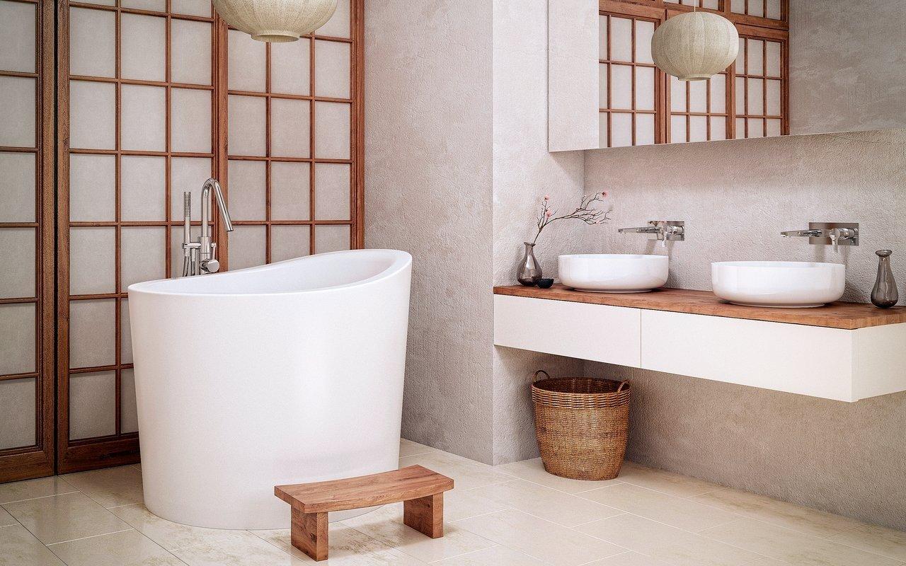 Aquatica True Ofuro Mini Tranquility apsildāma brīvstāvoša, japāņu dziļā akmens vanna picture № 0