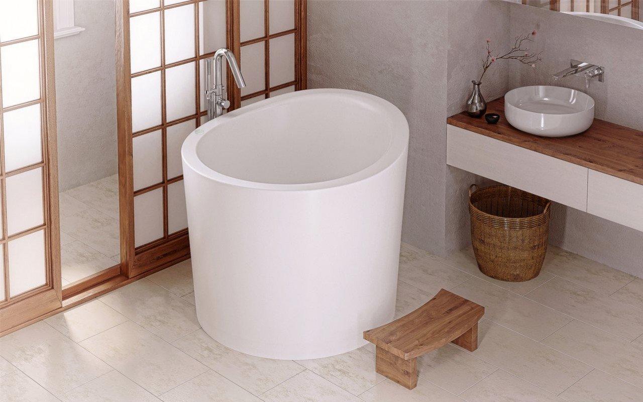 Aquatica True Ofuro Mini Tranquility apsildāma brīvstāvoša, japāņu dziļā akmens vanna (220/240V/50/60Hz) picture № 0
