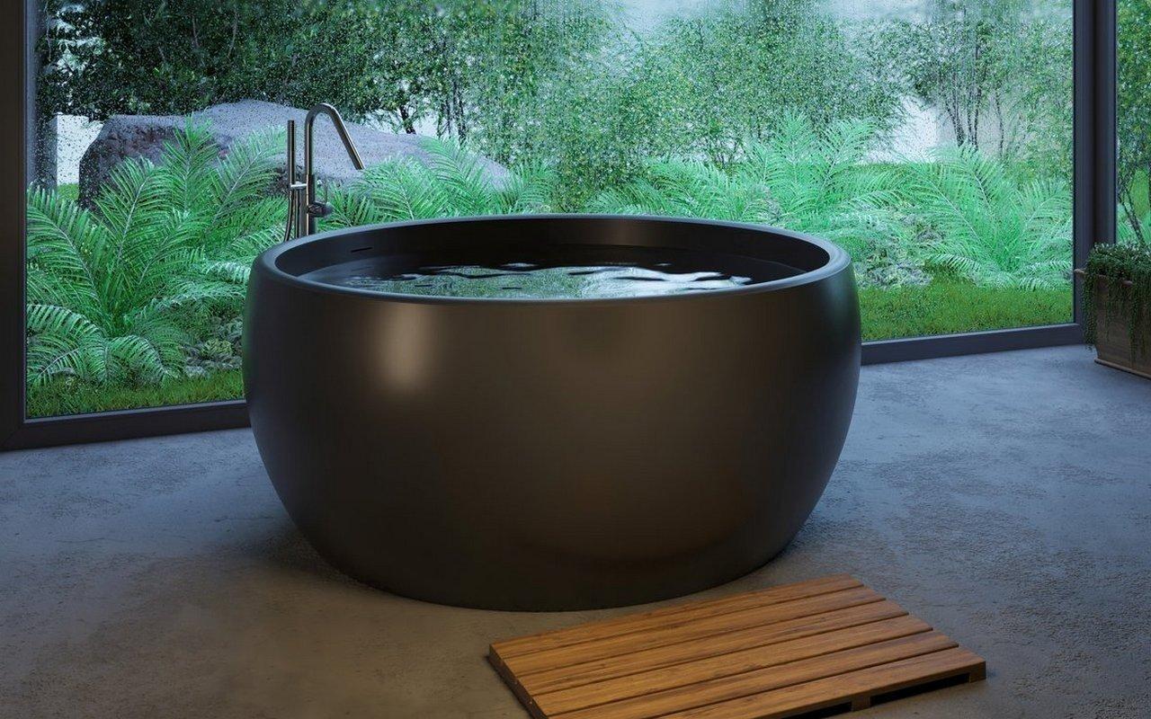 Aquatica Aura melna apaļa, brīvstāvoša Solid Surface vanna picture № 0