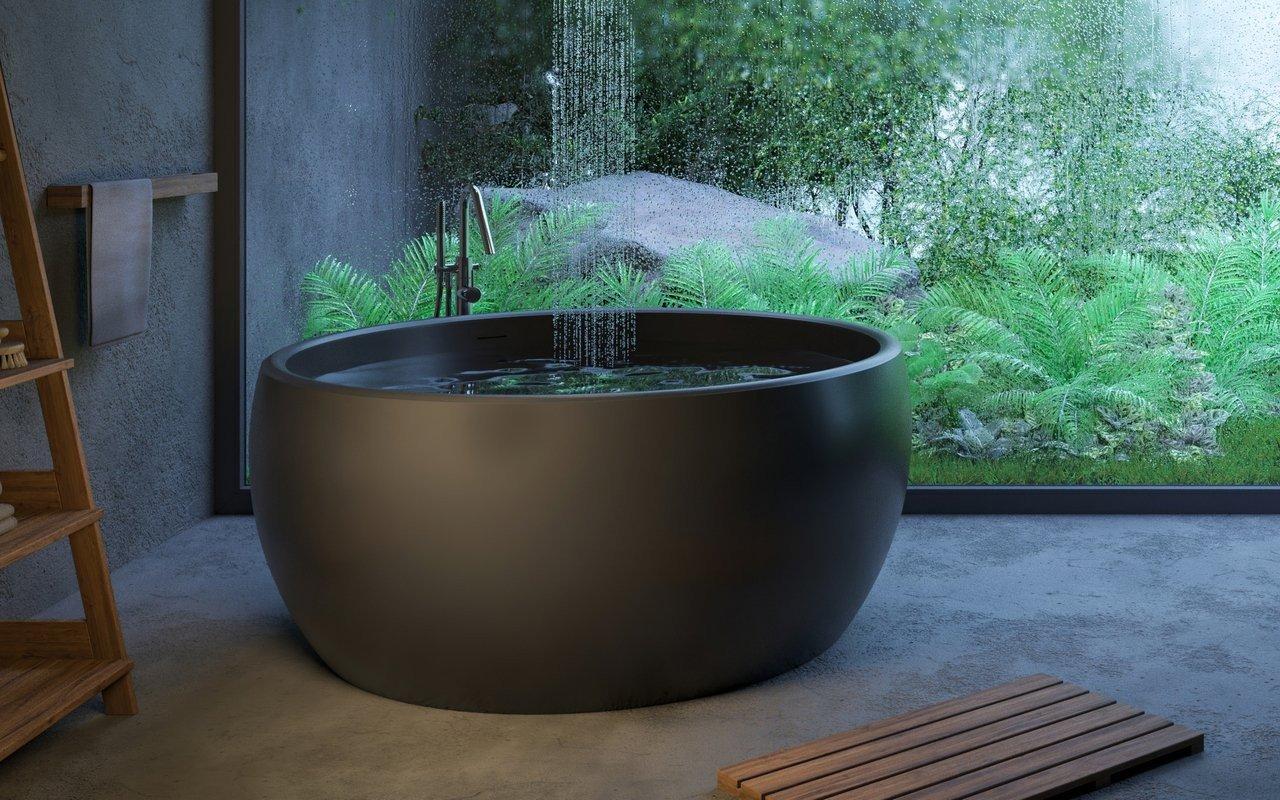 Aquatica Aura Mini melna apaļa brīvstāvoša Solid Surface vanna picture № 0
