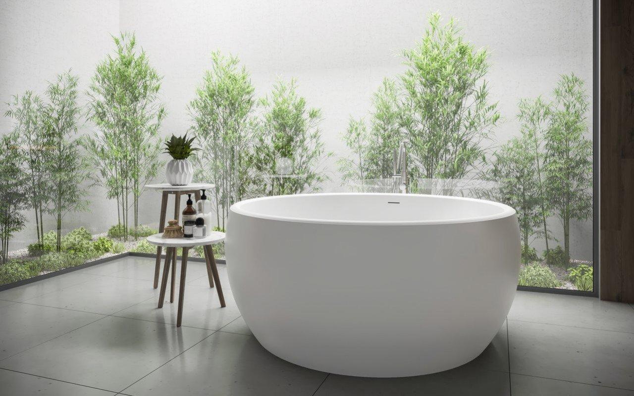 Aquatica Aura Mini apaļa, brīvstāvoša Solid Surface vanna picture № 0