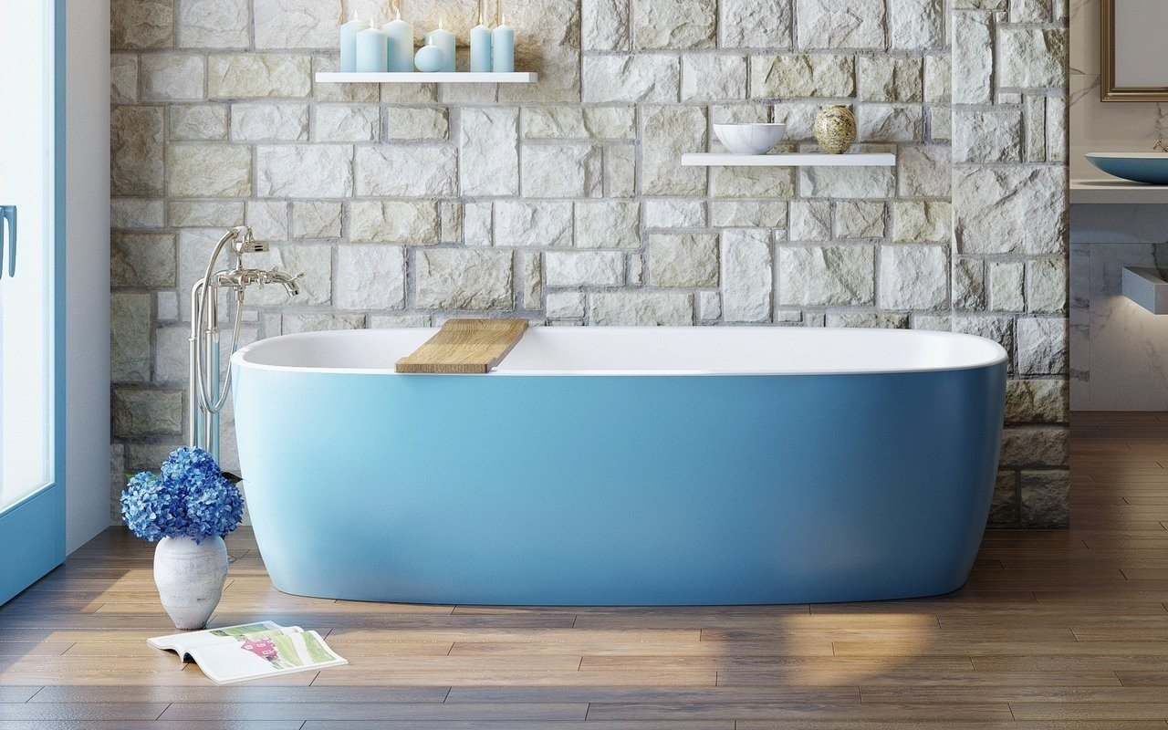 Aquatica Coletta™ Jaffa Blue-Wht brīvstāvoša Solid Surface vanna, Džafas zila-balta picture № 0