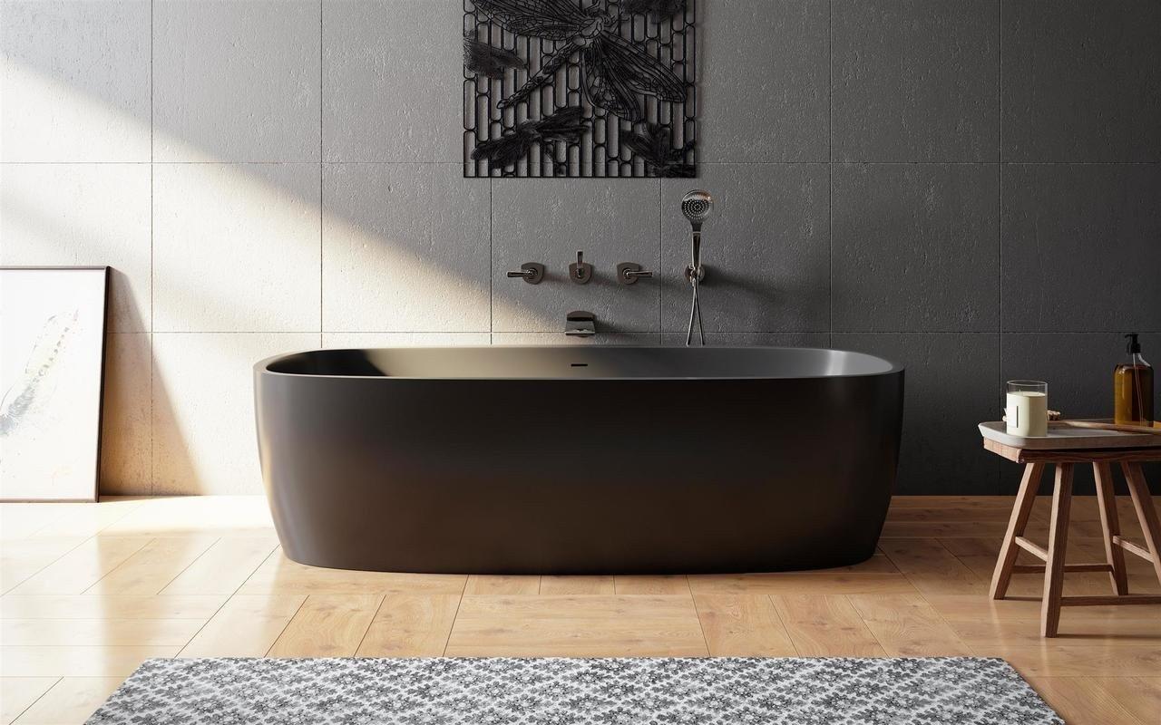 Aquatica Coletta™ melna brīvstāvoša Solid Surface vanna picture № 0