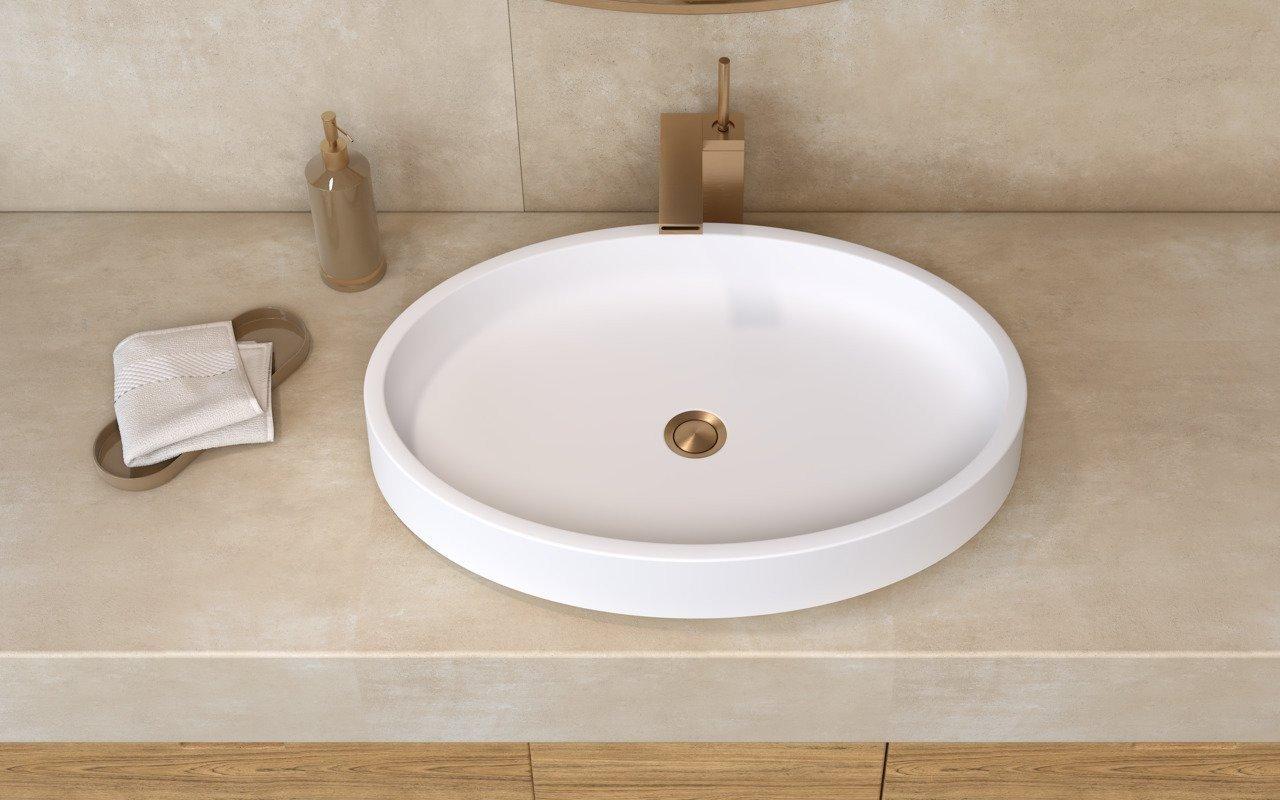 Aquatica Solace-Wht ovāla, akmens, uz virsmas uzstādāma vannasistabas izlietne, balta picture № 0