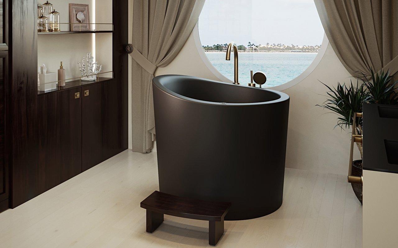 Aquatica True Ofuro Mini Tranquility apsildāma melna brīvstāvoša, japāņu dziļā akmens vanna picture № 0