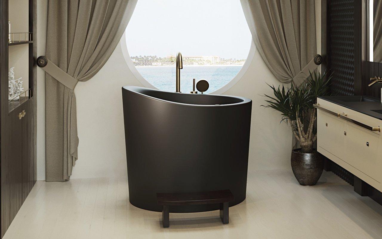 Aquatica True Ofuro Mini Tranquility apsildāma melna brīvstāvoša, japāņu dziļā akmens vanna (220/240V/50/60Hz) picture № 0
