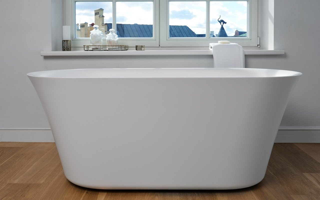 Tulip Wht Freestanding Slipper Solid Surface Bathtub by Aquatica web 0109