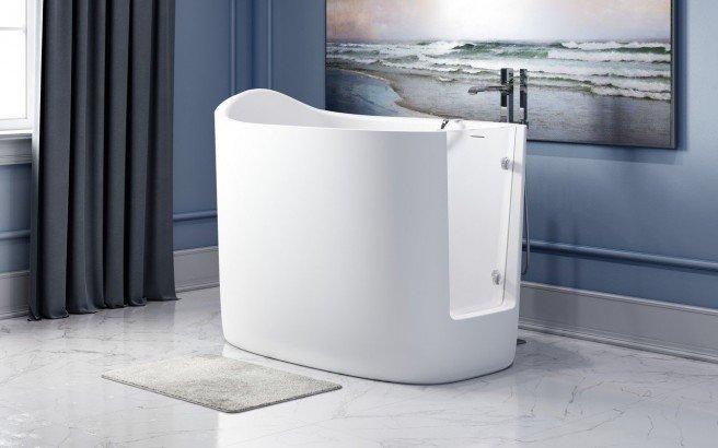 Aquatica Baby Boomer 2 Freestanding Solid Surface Walk In Bathtub 04 (web)