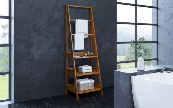 Aquatica Universal 70.75 Waterproof Iroko Wood Bathroom Ladder Shelf 01 (web)