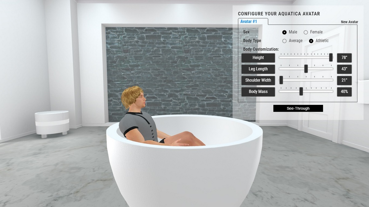 Pamela Bathtub 3D Body Position